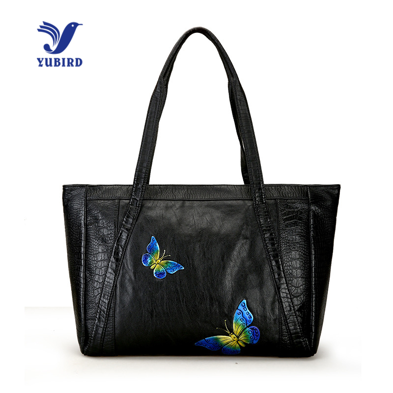 YUBIRD Women Shoulder Bag Butterfly Embossed Casual Tote Large Ladies PU Leather Handbag Travel Tote Bag