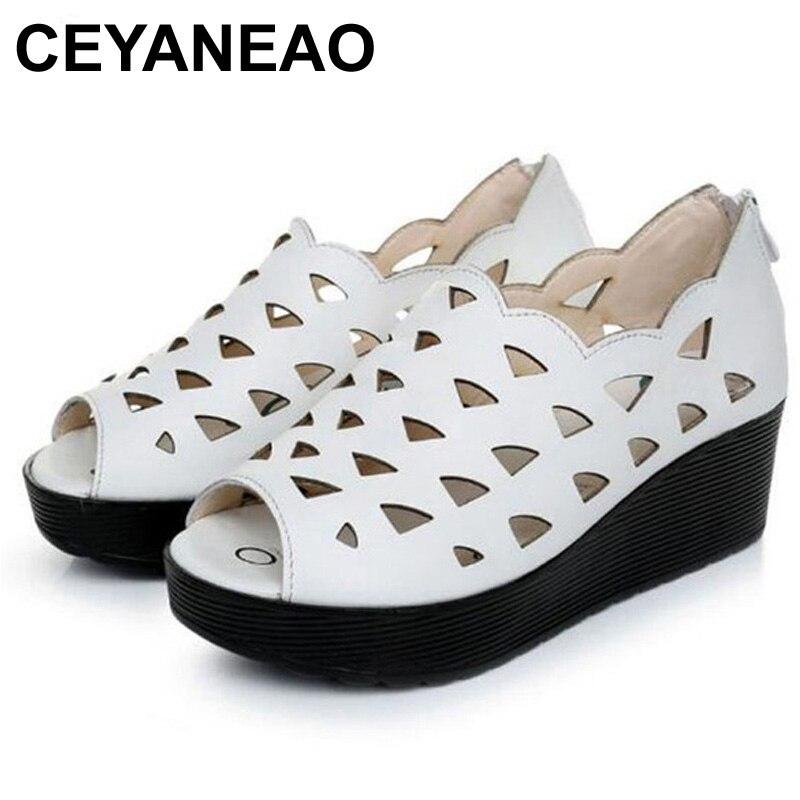 CEYANEAOMostPopular Summer New Hollow Genuine Leather Shoes Platform Wedges Women Sandals Comfortable Non slip Women ShoesE1853