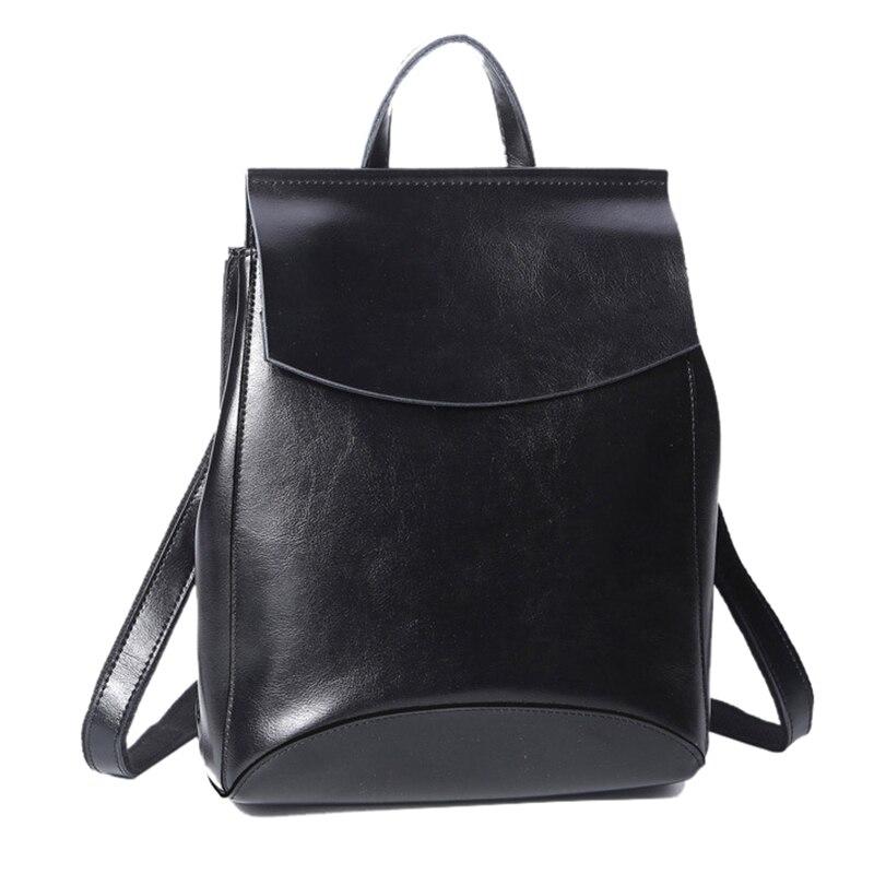 คุณภาพสูงจริง Cowhide ผู้หญิงกระเป๋าเป้สะพายหลังกระเป๋าเป้สะพายหลัง Crossbody ไหล่กระเป๋าน้ำมันขี้ผึ้งหนังแท้หนังหญิง Rucksack Daypack-ใน กระเป๋าเป้ จาก สัมภาระและกระเป๋า บน AliExpress - 11.11_สิบเอ็ด สิบเอ็ดวันคนโสด 1