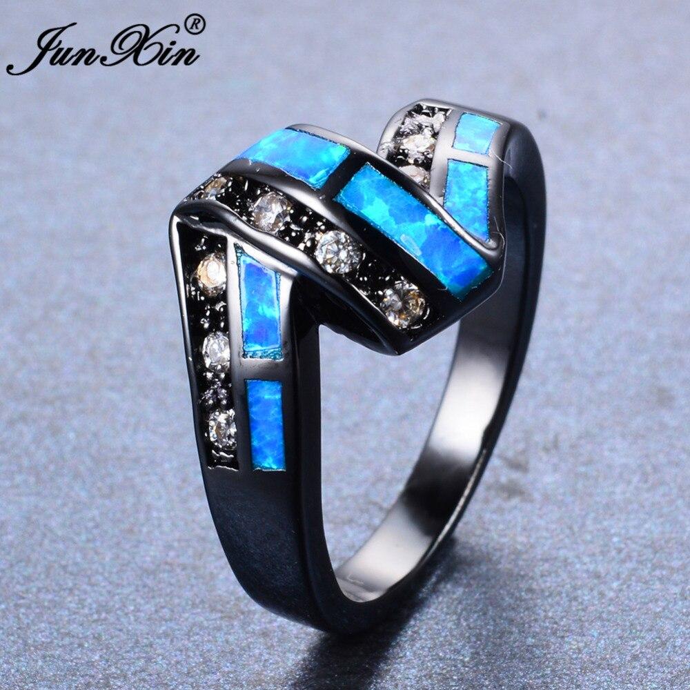 JUNXIN Top Quality Women Men Ocean Blue Fire Opal Ring
