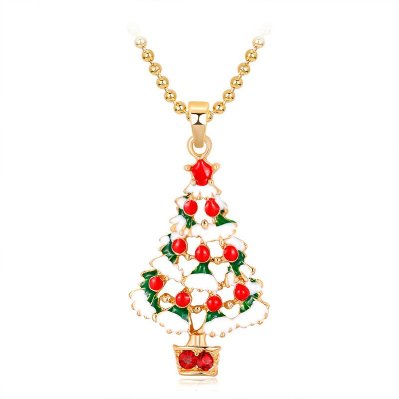 Women Fashion Rhinestone Oil Drop Cartoon Christmas Tree Pendant Necklace Alloy Beads Chain Lovely Sweater Necklace Xmas Gift