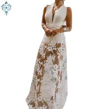Ameision Women Long Evening Dress deep V-Neck Sleeveless Floral Backless Lace-up Sexy Party Gowns Elegant White Dresses