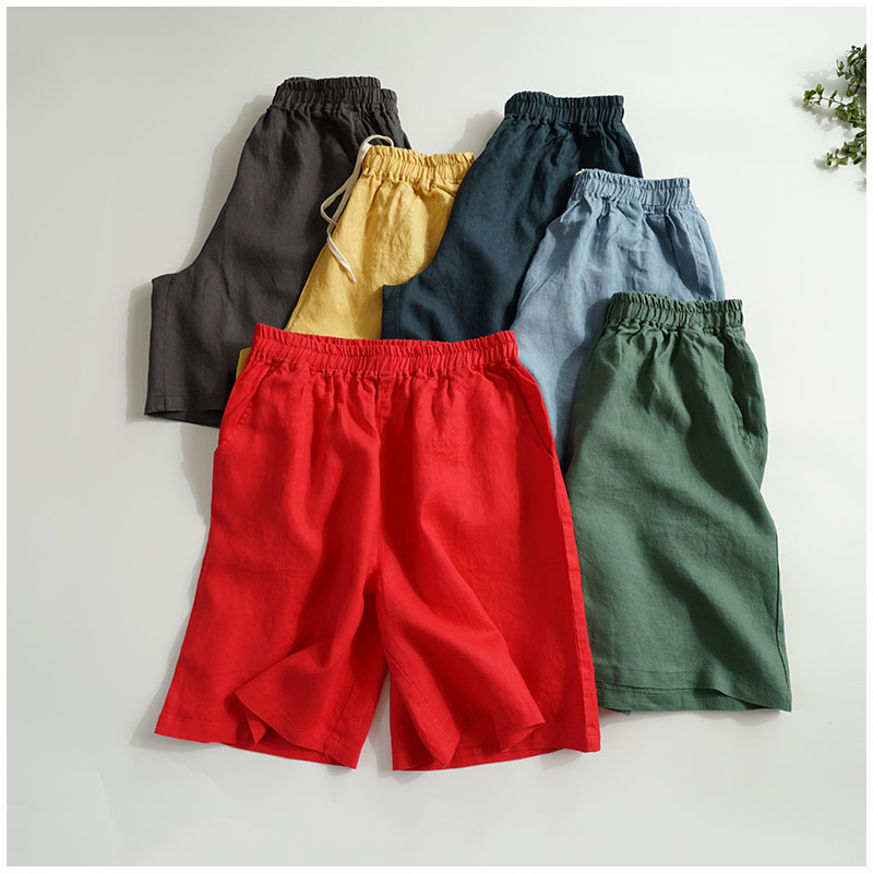 Summer Women Loose Plus Size All-match Comfortable Linen Wide Leg   Shorts   Skirts V21999-1-10