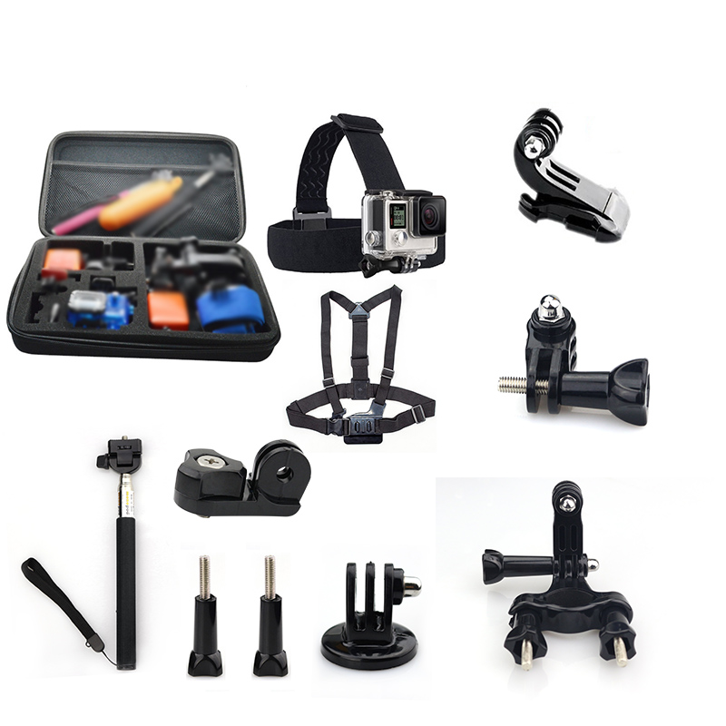 Galleria fotografica For Gopro Accessories Kits Action Camera Mount Monopod Tripod For Go Pro 5 Xiaomi Yi 4K Sjcam Sj4000 Eken H9R Gopro 3 Session