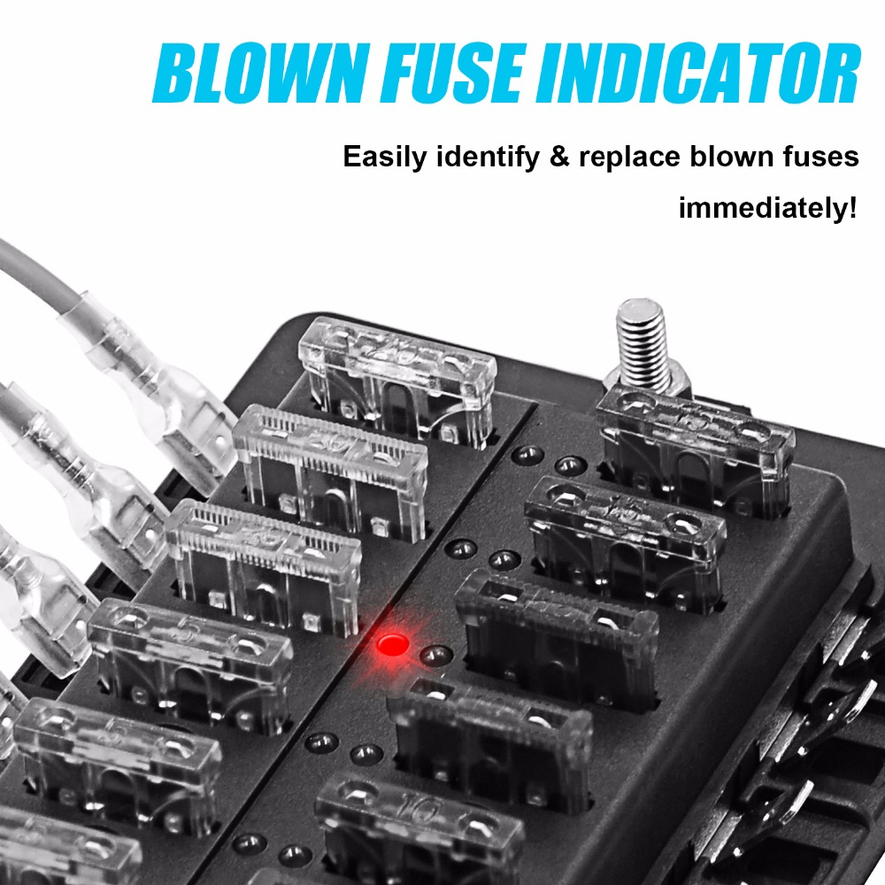 8 Way ATC ATO Blade Fuse Box LED Indicator for Blown Fuse Protection Cover 100 Amp 8 way atc ato blade fuse box [led indicator for blown fuse Car Fuse Box Fuse Symbol at n-0.co