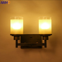 IWHD Glass Arandela Loft Industria Vintage Wall Lamp LED 2 Heads Candle Iron Sconce Luminaire On The Wall Home Lighting Stairs