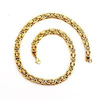 Heavy 22 Inch 125g Men S Stainless Steel Byzantine Box Link Chain Necklace 18k Gold Plated