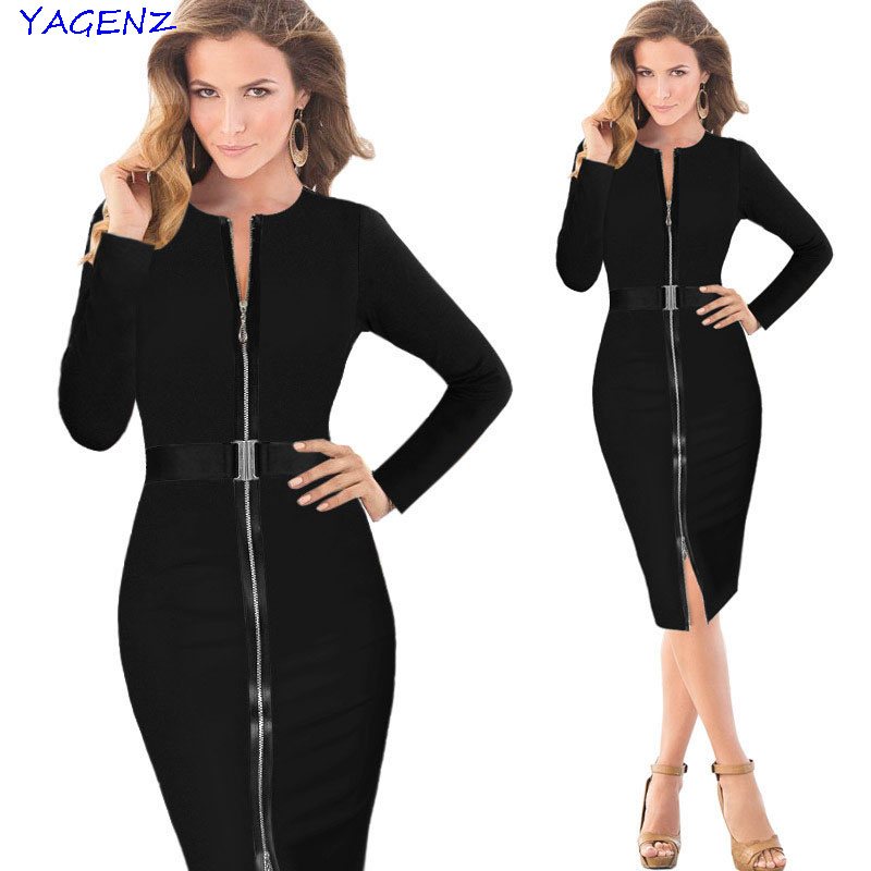 Long sleeve Vintage dress 2017 Elegant Zipper Belted Fashion Pencil Dress Spring Summer  To Work Office Bodycon Dress YAGENZ A28