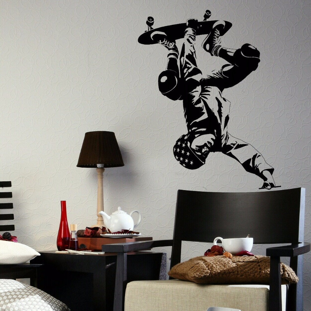 Delicieux Decal Room Wall Sticker Self Adhesive Vinyl Transfer SkateBoarder Boys Home  Art Decor XS S M L Black Blue Red 80 Colors In Wall Stickers From Home U0026  Garden ...