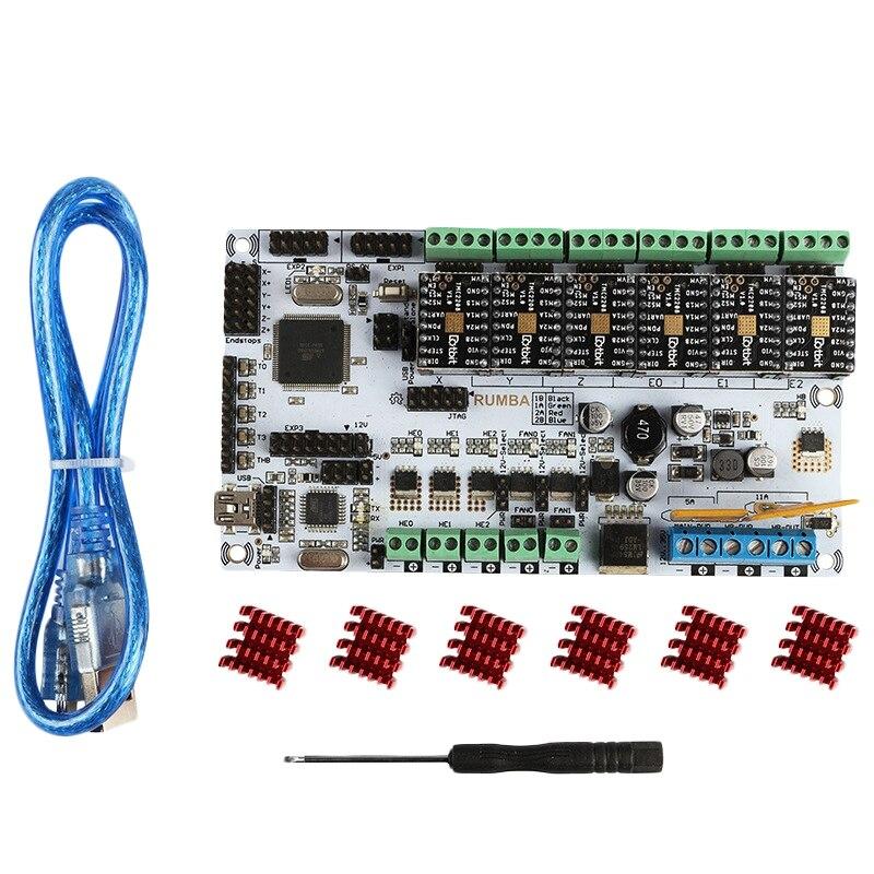 Imprimante 3D Rumba carte mère + Tmc2208V1.0x6 Marlin Firmware Compatible avec rampes pour Arduino