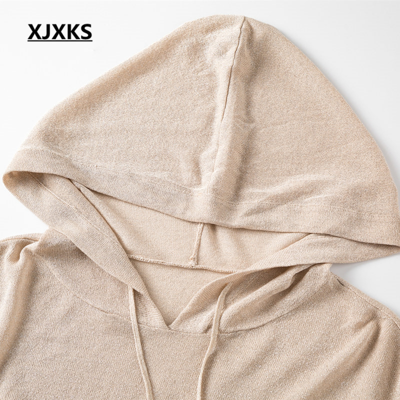 XJXKS damski dwuczęściowy zestaw 2019 wiosna lato nowy mody z kapturem kołnierz top + elastyczna spódnica wygodne na co dzień odzież damska w Zestawy damskie od Odzież damska na  Grupa 3