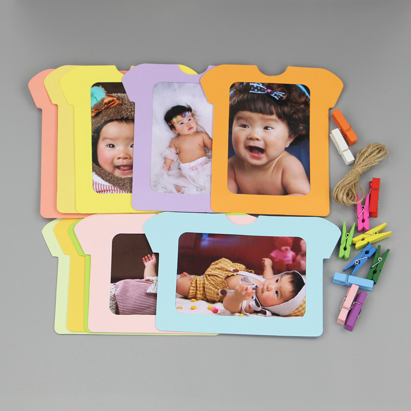 Baby Souvenirs Photo Frame Handprint Baby Photo Holder Kids Birthday Gift Room Decorations Butterfly Apple T-Shirt Photo Frame