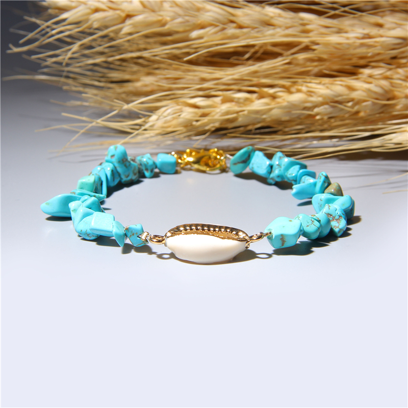 Charm Golden Cowrie Shell Bracelets for Women Natural Stone Chip Beads Bracelet Healing Stretch Bracelet Bohemian Beach Jewelry in Strand Bracelets from Jewelry Accessories