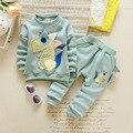 2017 Весна/Осень Динозавр Детская Одежда 2 шт. костюм для девочек sweatershirt + брюки дети одежда наборы