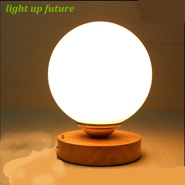 Modern Round Ice Cube Led E27 Table Lamp Glass Wooden Table Lamp For  Bedroom Bar Restaurant