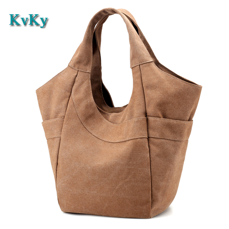 KVKY Women Bag Canvas Handbags Laides Shoulder Bag New Fashion Sac A Main Femme De Marque Casual Bolsos Mujer Tote Bags aosbos fashion portable insulated canvas lunch bag thermal food picnic lunch bags for women kids men cooler lunch box bag tote