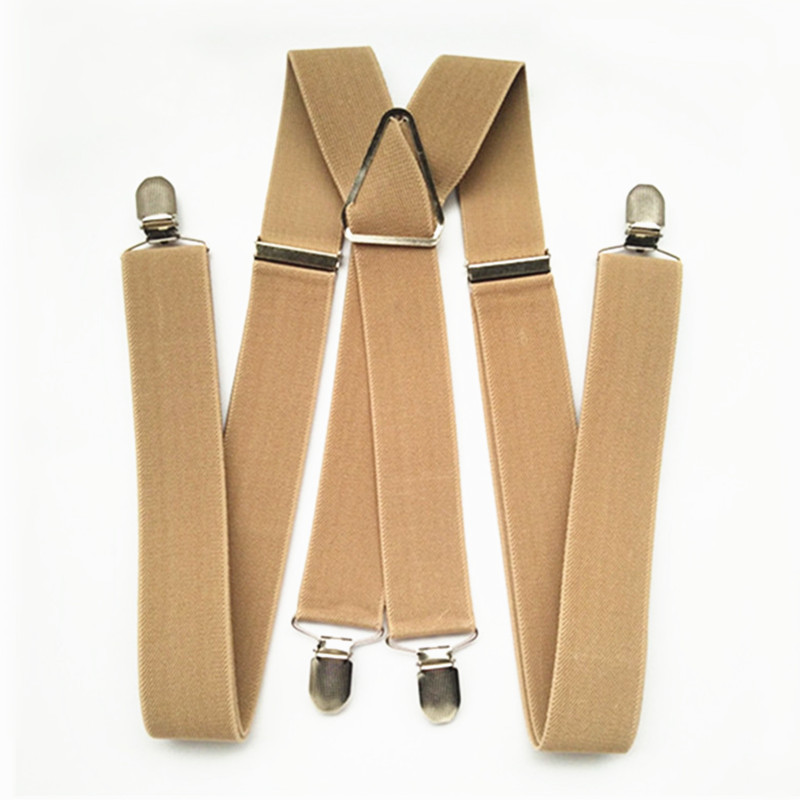 BD054-L XL XXL Size Khaki Tan Color 3.5cm Width 4 Clips Adult Suspenders Adjustable Elastic X Back Pants Braces Suspender Men