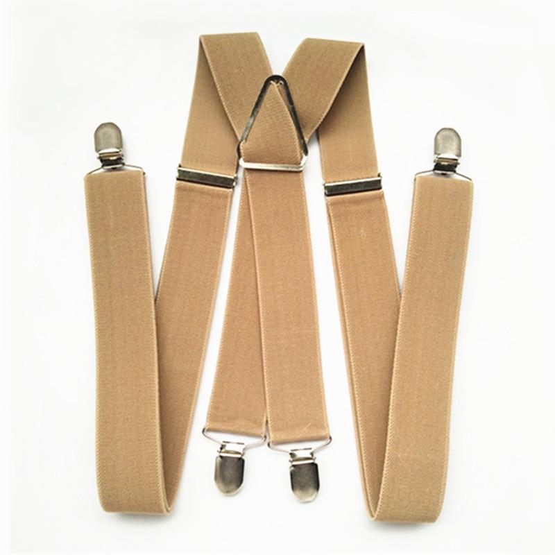 BD054-L XL XXL Size Khaki Tan Color 3.5cm Width 4 Clips Adult Suspenders Adjustable Elastic X Back Pants Braces Suspender Men