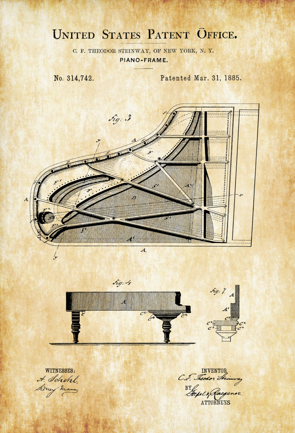 Steinway Piano Frame Patent Wall Decor, Music Poster Art Silk Fabric ...