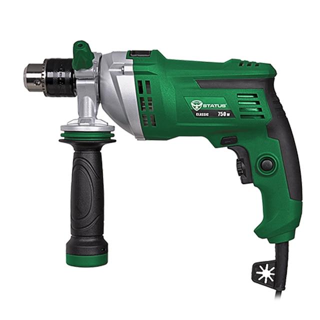 Дрель ударная STATUS DP750 (Мощность 750 Вт, скорость вращения 0-3000 об/мин, макс.диаметр сверления 25 мм, реверс, регулируемая передняя рукоятка, фиксация кнопки включения)