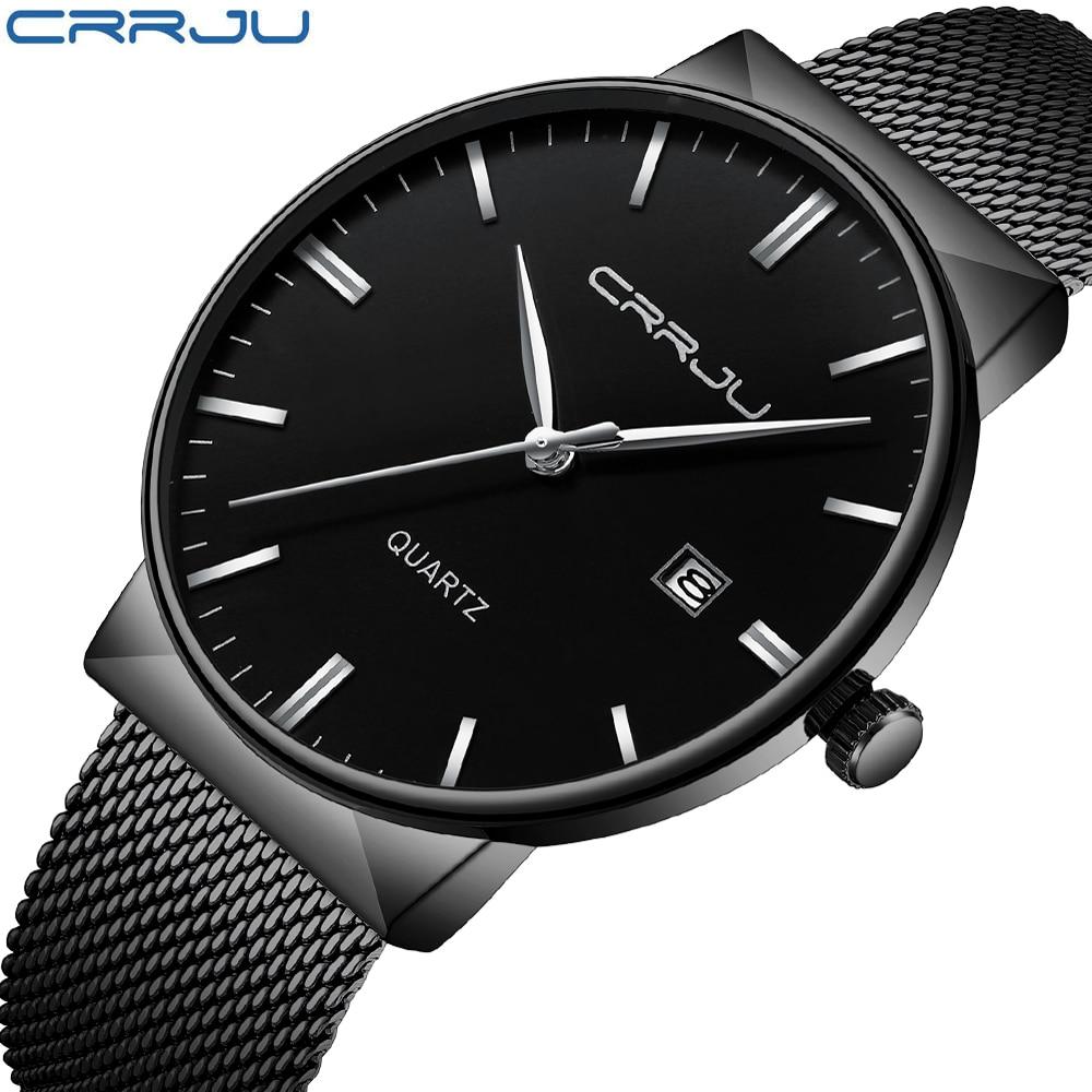 Luksusowa marka Black CRRJU Full Steel Quartz Watch Men Casual - Męskie zegarki - Zdjęcie 6