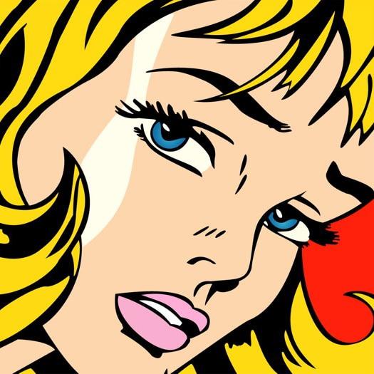 Roy Lichtenstein Pop Art Girl Silk Fabric Poster 12x18 24x36 inch