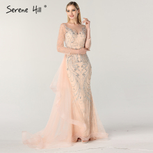 SERENE HILL 2019 Peach Mermaid Evening Dresses Long Sleeve