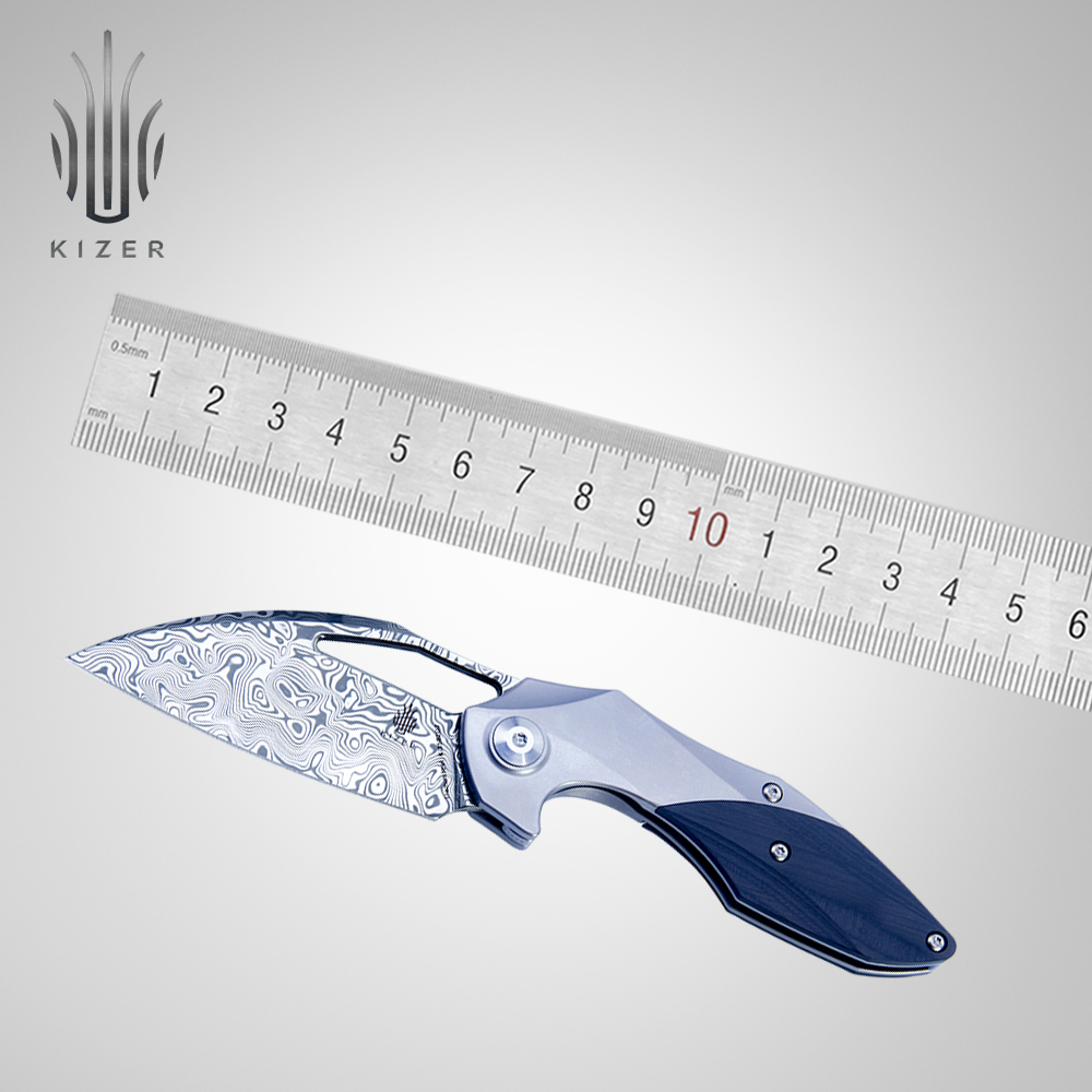 Kizer knife damascus steel pocket knife Minitherium best folding knife for collection damasteel titanium edc knife in Knives from Tools