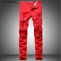 Мужчины узкие джинсы бренд моды красный цвет джинсовой ткани Красочные брюки случайный мужчина шаровары хип-хоп разорвал джинсы хлопок брюки hombre