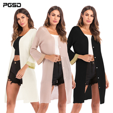 PGSD Autumn Simple fashion Pure color women clothes Single-breasted thin knitted sweater Long-sleeved fold Leisure cardigan