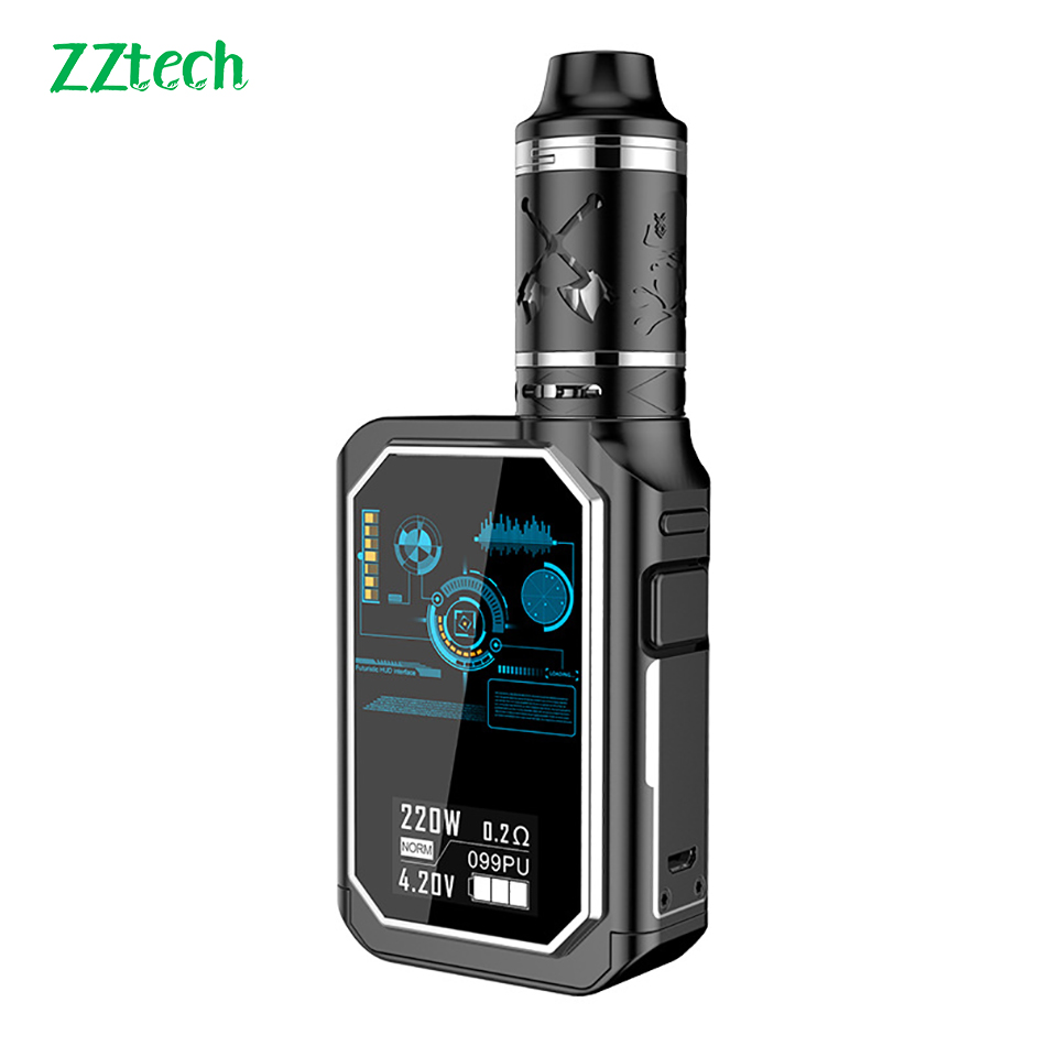 Zztech Multifunction Electronic Cigarette X24 DWT 220 Box Mod Kit Vape 4600mah 220W 4dual Coil 3ml Tank 510 Thread Vaporizer