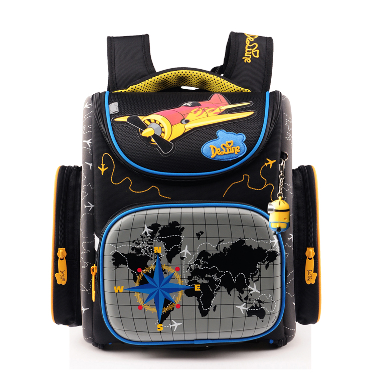 Delune Boys School Bags Backpack Blue Car Yellow Plane children Kids Primary 1-5 Grade Orthopedic Waterproof Schoolbag цена 2017