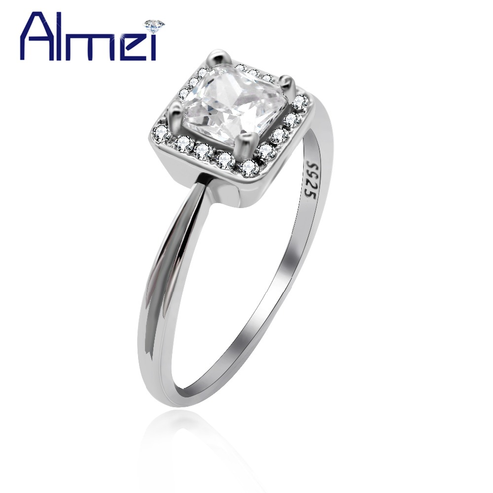 Almei 2 Row Silver 925 Rings For Women Luxury Bijouterie Large Square CZ Engagement Fine Jewelry Bague Rings With Box 40% LJ117