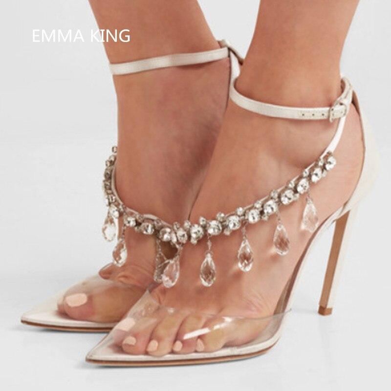 Baja Cristal Mujer Decoración Feminino Moda Zapatos Transparente De Pvc Otoño Solid Tacones Hebilla Bombas Sexy OSqtgx