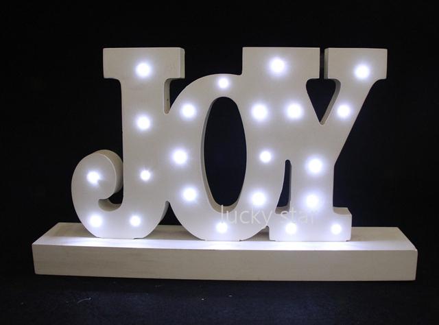 ALEGRIA Carta de madeira luz LED Sinal Marquise ACENDER a luz da noite quarto de criança Queda De Potência