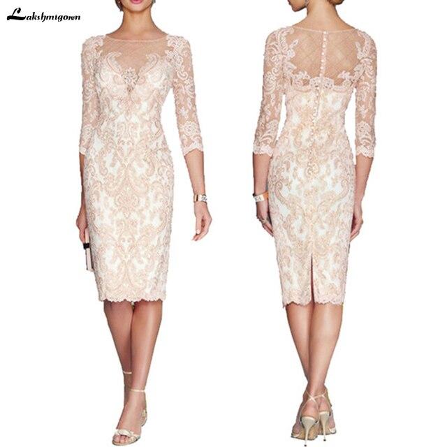 lakshmigown Lace Mom's Dress Formal Sheath Mother of the Bride Gown Sheer Neck Back Slit Knee Length 3 Quarter Sleeves Bateau