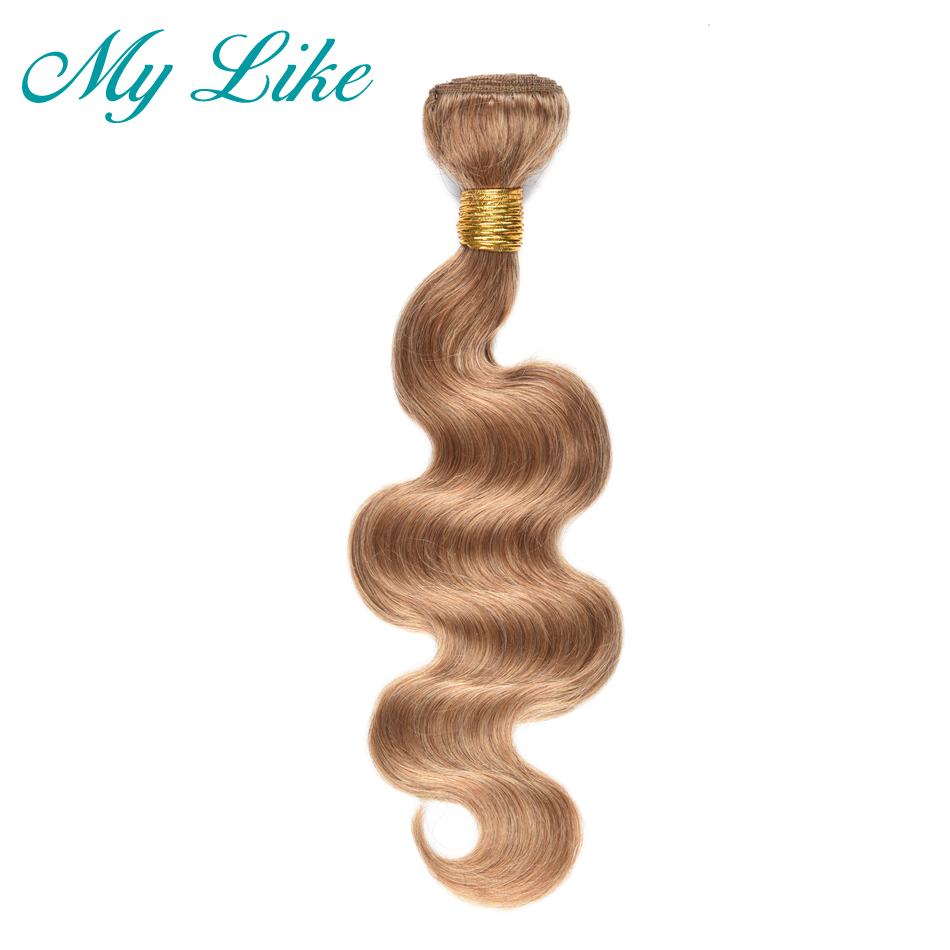My Like Peruvian Body Wave Hair Bundles Colored #27 Honey Blonde Non-remy Hair Extensions 1 Piece 100% Human Hair Weaves Bundles
