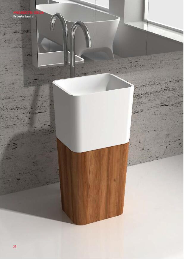 Corian Bathroom Pedestal Wash Basin Freestanding Solid Surface Matt Sink Natural Walnut Dark Oak RS38478C