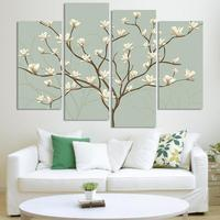 4 Panels Abstract White Flower Modern Painting On Canvas Wall Art Oil Painting Living Room Decoration Pictures No Frame