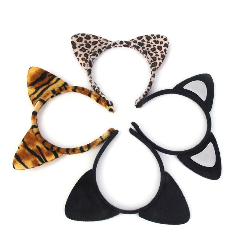 1Pc Fashion Women Plush Tiger Leopard Cat Ear Headband Hair Band Cosplay Party Fancy Baby Headdress