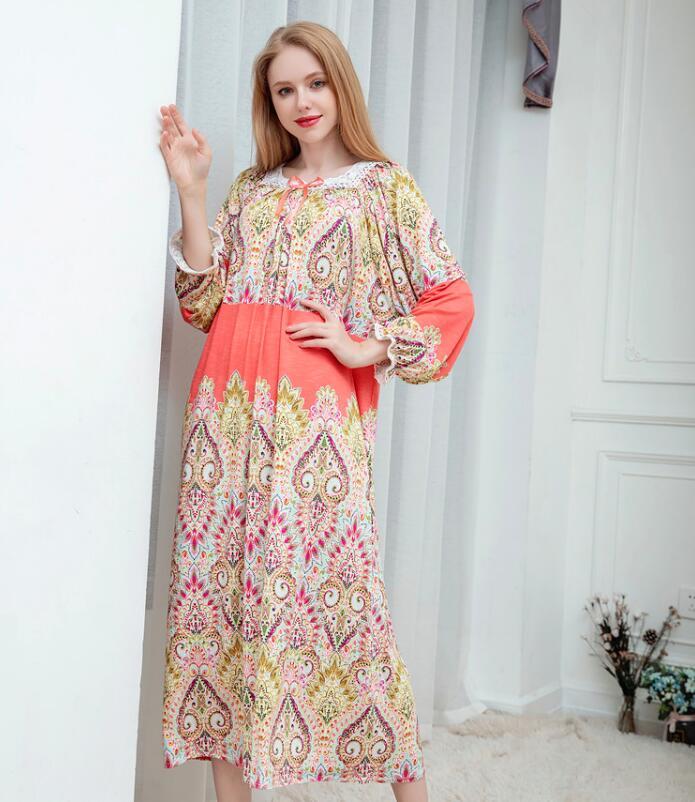 Women Spring Autumn Printing Long Loose Bourette Bourrette Sleepwear Night Dress Pajamas Night Gown Robes RB301