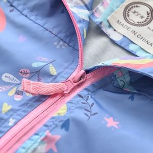 Image 4 - New Spring Girls Jackets And Coats Hooded Unicorn Rainbow Pattern Kids Windbreaker Jackets Autumn Jackets For Girl Children Coat