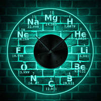 1Piece Chemical Element Periodic Wall Clock With Backlight LED Lighting Wall Lamp Modern Home Decor Led Nightlight Teacher Gift