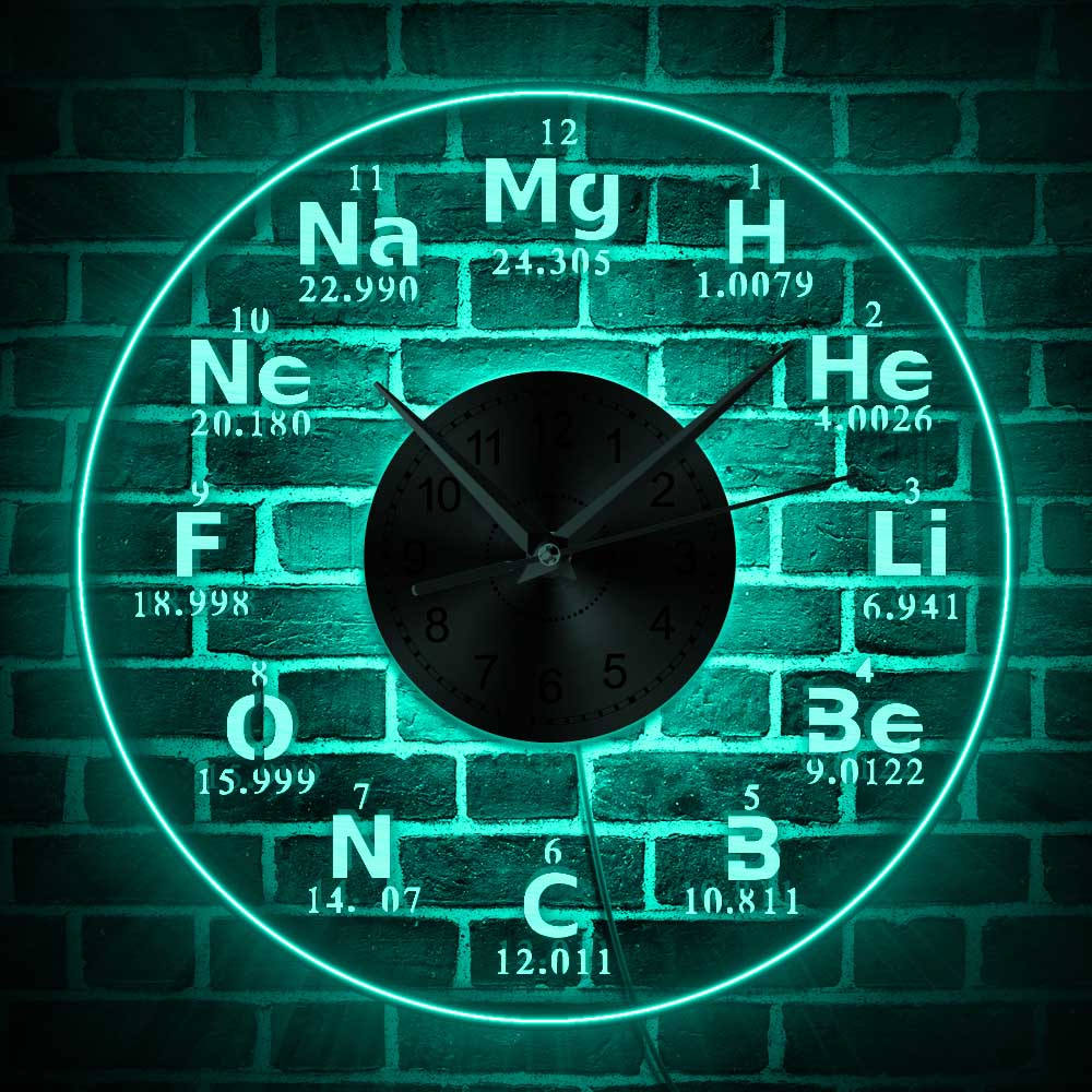 Chemical Element Periodic Acrylic Wall Clock With Backlight LED Lighting Wall Lamp Modern Home Decor Led Nightlight Teacher Gift