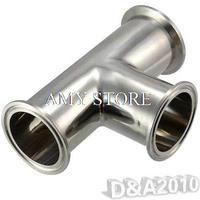 OD 38mm 1 1/2'' 3 Way Tee Sanitary Ferrule Pipe Fitting Stainless Steel 304