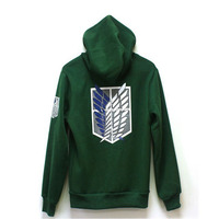 2017 New Anime Attack on Titan Hoodie Cosplay Costume Shingeki no Kyojin Scouting Legion Jacket Daily Casual Hooded Sweatshirts