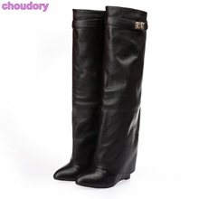 Women Luxurious Brand Knee High Boots Concise Metal Decoration Dress Boots Belt Buckle Wedge Heel Boots Gladiator Shoes US10