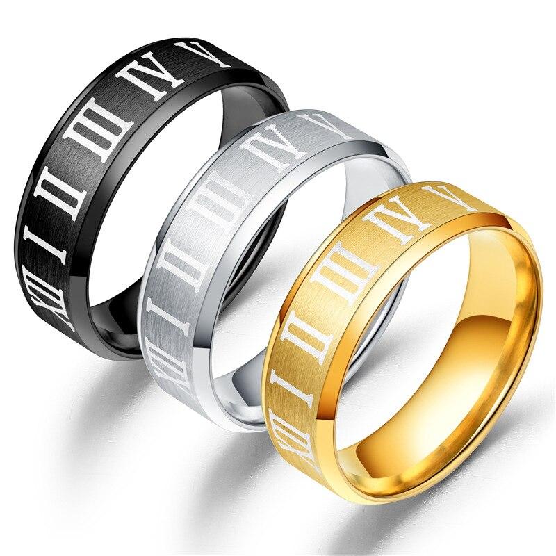 New Mens Explosion Titanium Steel Stainless Couple Jewelry Roman Digital Ring Wholesale Fashion