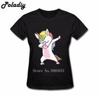 T Shirt Women 2018 Summer Unicorn Cute Dabbing Print Basic Tops Women Short Sleeve Female Tops