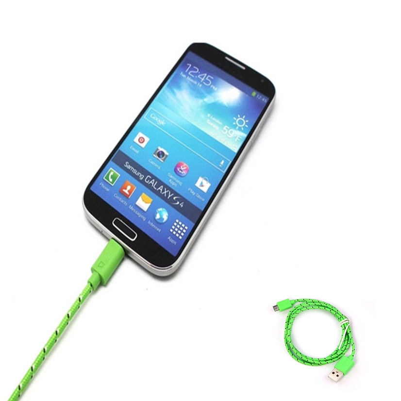 MOSUNX Futural Digital Hemp Rope Micro USB Charger Charging Sync Data Cable Cord for HTC for Nokia for Samsung MApr05 F35